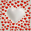 Heart Valentines day card with red hearts and big white heart — Stock Vector
