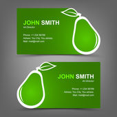 Business card green pear — Stock Vector