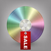 Płyty Blu ray, dvd lub cd z etykietą sprzedaż. Ilustracja wektorowa — Wektor stockowy