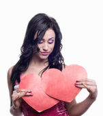 2 hearts in the hands of the model — Foto Stock