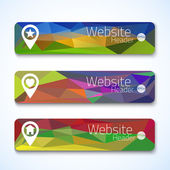 Set of website abstract triangle banners — Stock Vector