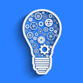 Light paper bulb with gears vector illustration — Stock Vector