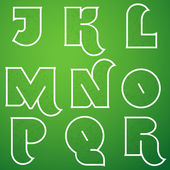 Alphabet Font Set from J to R — Stock Vector