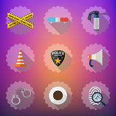 Police Security Flat  Icon Set — Stock Vector