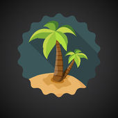 Sea Island with Palm — Stock Vector