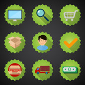 Online shopping process — Stock Vector