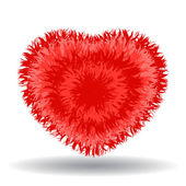 Big soft red heart isolated on white background — Vecteur