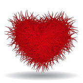 Big red bushy heart isolated on white background — Vecteur