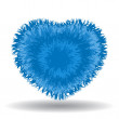 Big soft blue heart isolated on white background — Vector de stock