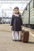 Girl at the train station — Foto Stock