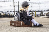 Girl at the train station — Foto de Stock