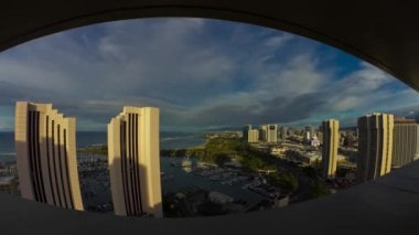 Fisheye City View, Timelapse, Honolulu, Oahu, Hawaii, USA — Stock Video