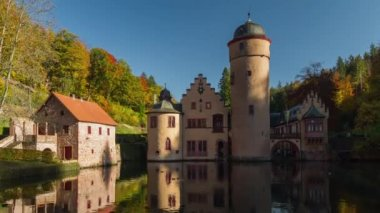 Mespelbrunn Castle, Timelapse, Spessart, Germany — Stock Video