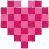 Hot Pink and Cerise Patchwork Heart — Photo