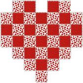 Coeur saint-valentin patchwork rouge et blanc — Photo