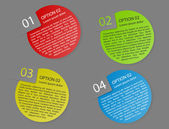 Vector color rounded paper option labels — Stok Vektör
