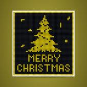 Vector yellow christmas tetris card — Stock Vector