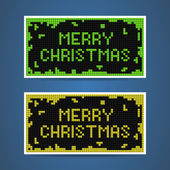 Vector green and yellow christmas tetris cards — Stock Vector