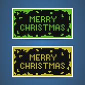 Vector green and yellow christmas tetris cards — Stock Vector