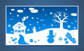 Vector winter cartoon landscape — Stock Vector
