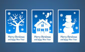Vector blue christmas cards — Stock Vector