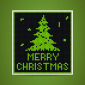 Vector green christmas tetris card — Stock Vector