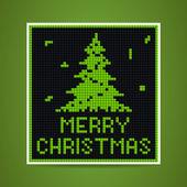 Vector green christmas tetris card — Stock Vector