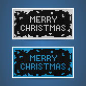 Vector white and blue christmas tetris cards — Stock Vector