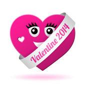 Vector girl valentine heart — Stock Vector