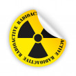 Vector radioactive bent sticker — Vettoriale Stock