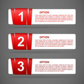 Vector red paper option labels — Stock Vector