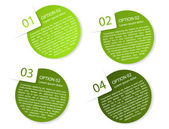 Vector green rounded paper option labels — Stock Vector