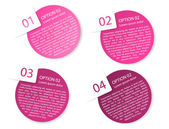Vector pink rounded paper option labels — Stock Vector