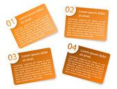 Vector orange angular paper option labels — Stock Vector