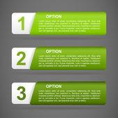 Vector green paper option labels — Stock Vector