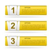 Vector yellow paper option labels — Stock Vector