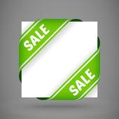 Vector green sale corner ribbons — Stock Vector