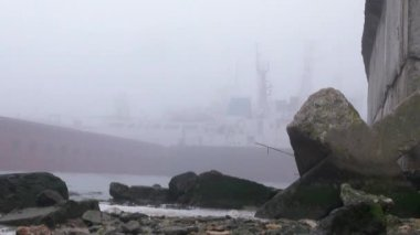 Barge port on river fog ship Autumn water — Stock Video