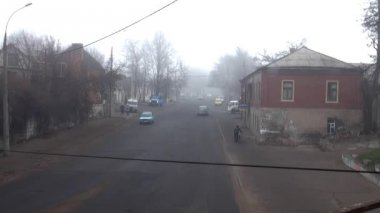 Metal Farm at crossroads in fog autumn — Stock video