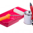 Stock Photo: Paint roller with tray