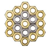 Golden screw nuts — Stock Photo