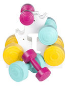 Three pairs of colorful dumbbells — Stock fotografie