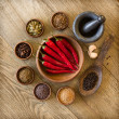 Stock Photo: Spices in wooden bowls