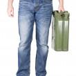 Man carries jerrycan. — Stock Photo