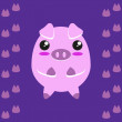 Cute kawaii piggy — Stock Vector