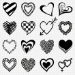 Hand drawn black heart icons — Stock Vector #40961519