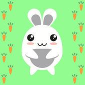 Bunny on carrot background — Vector de stock
