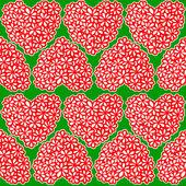 Red flower filled hearts — Vetorial Stock