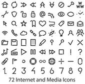 Internet and Media interface icons — Stock Vector