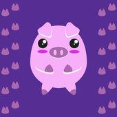 Cute kawaii piggy — Vettoriale Stock